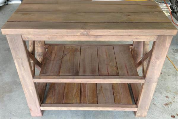 upcycled pallet kitchen island and TV stand