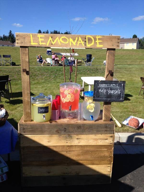 recycled pallet lemonade stand