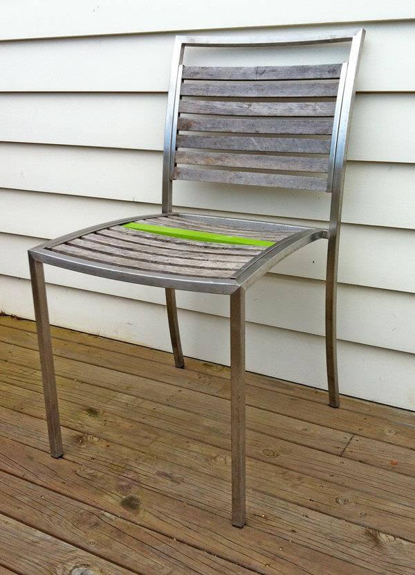 reclaimed metal framed pallet chair