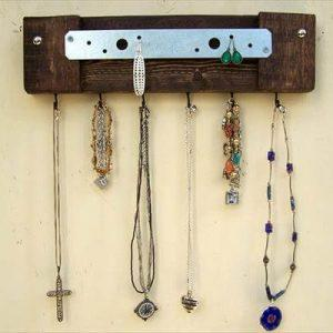 upcycled pallet metal jewelry rack