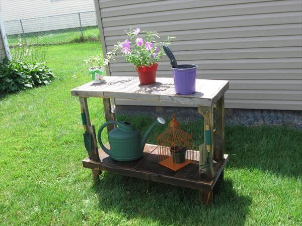 upcycled pallet potting shelf