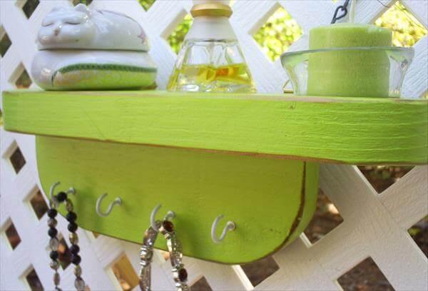 repurposed pallet shelf with hooks