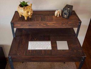 Tiered Pallet Wood Metal Desk