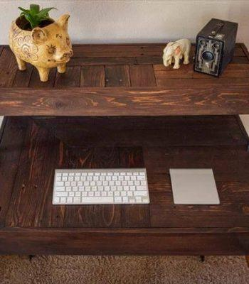 upcycled pallet tiered desk