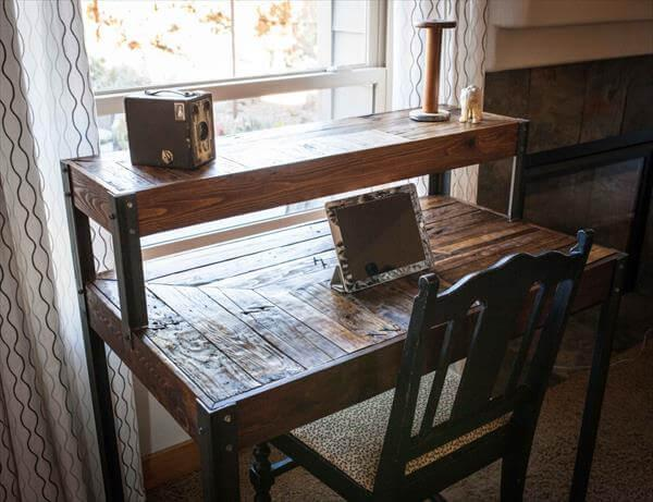 recycled pallet tiered desk
