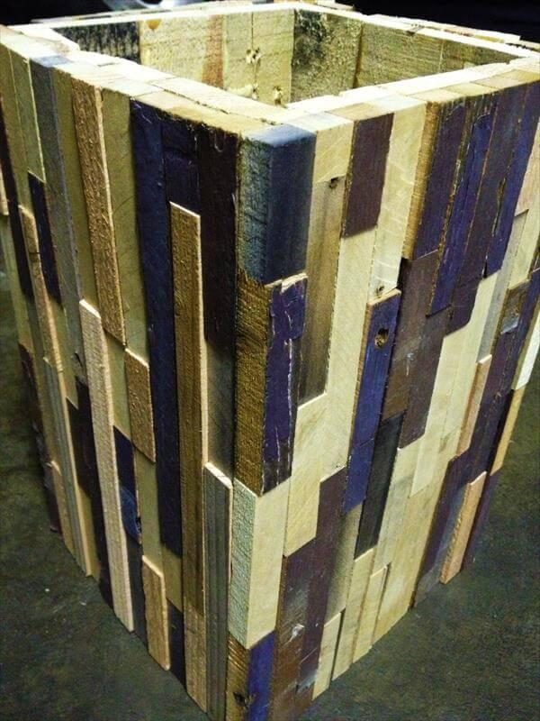 handcrafted pallet trash bin