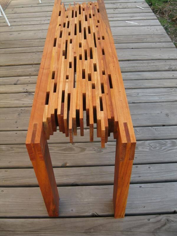 recycled pallet mahogany pallet bench