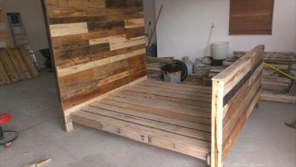 diy pallet bed frame with side drawers