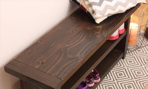 diy pallet bench and shoes rack