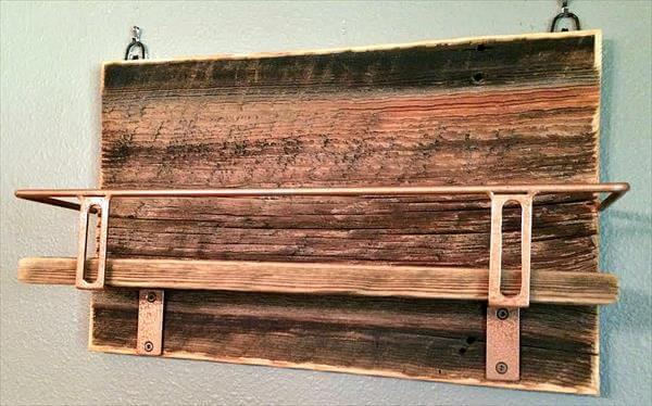 reclaimed pallet beverage shelf