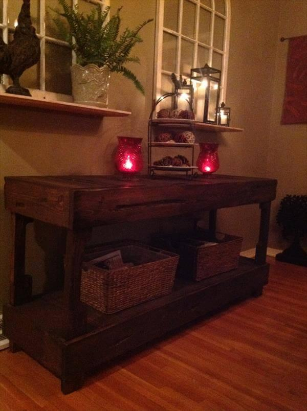 recycled pallet buffet table