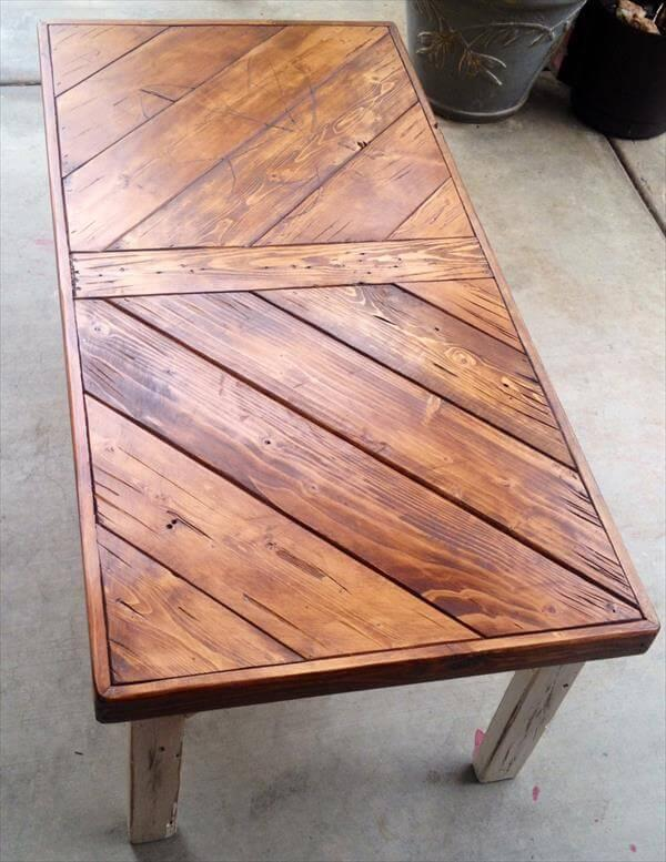reclaimed pallet chevron coffee table