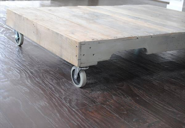 diy pallet coffee table with casters
