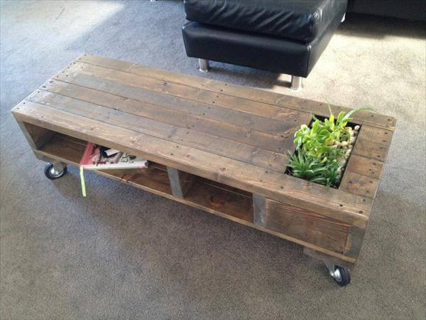 diy pallet coffee table with planter and wheels