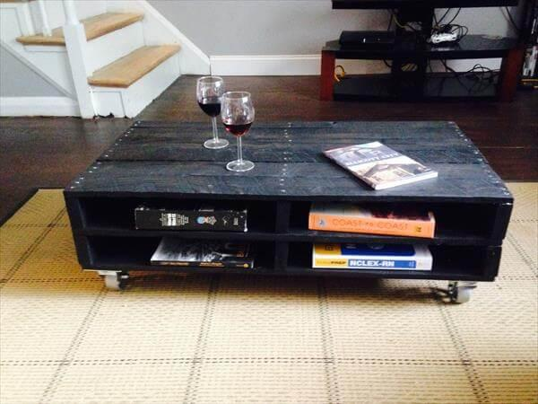 recycled pallet dark stained coffee table