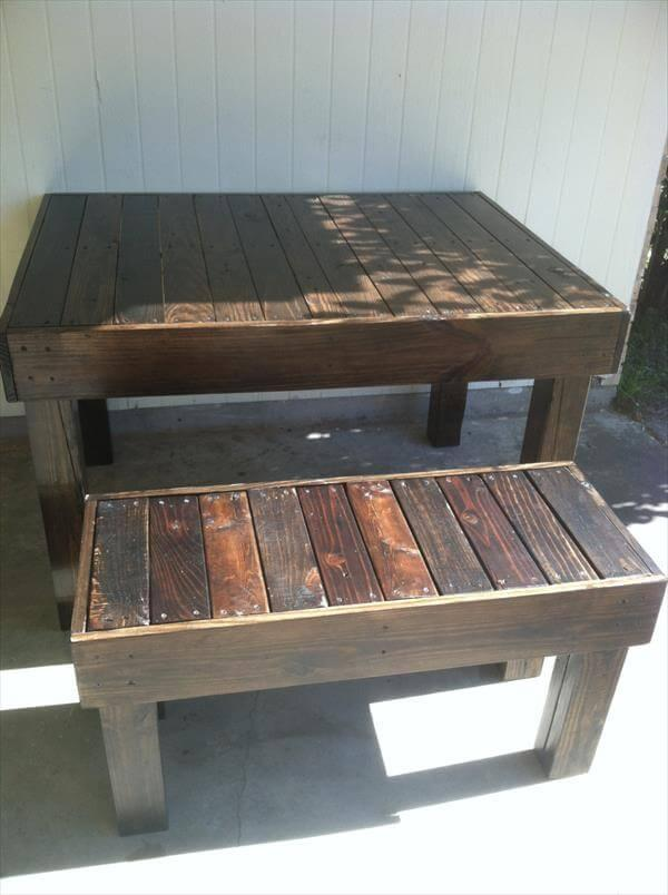 recycled pallet dining table with benches
