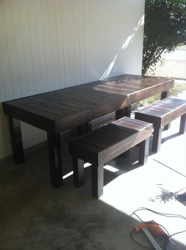 reclaimed pallet woo dining table with benches