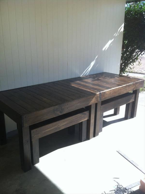 diy pallet dining table with benches