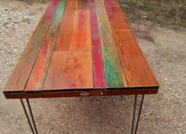 recycled pallet dining table with metal legs