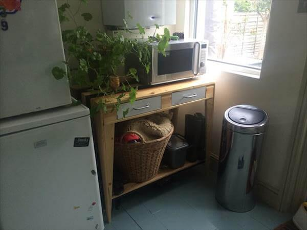 reclaimed pallet kitchen side table