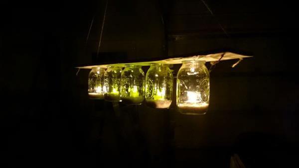 upcycled pallet mason jar chandelier