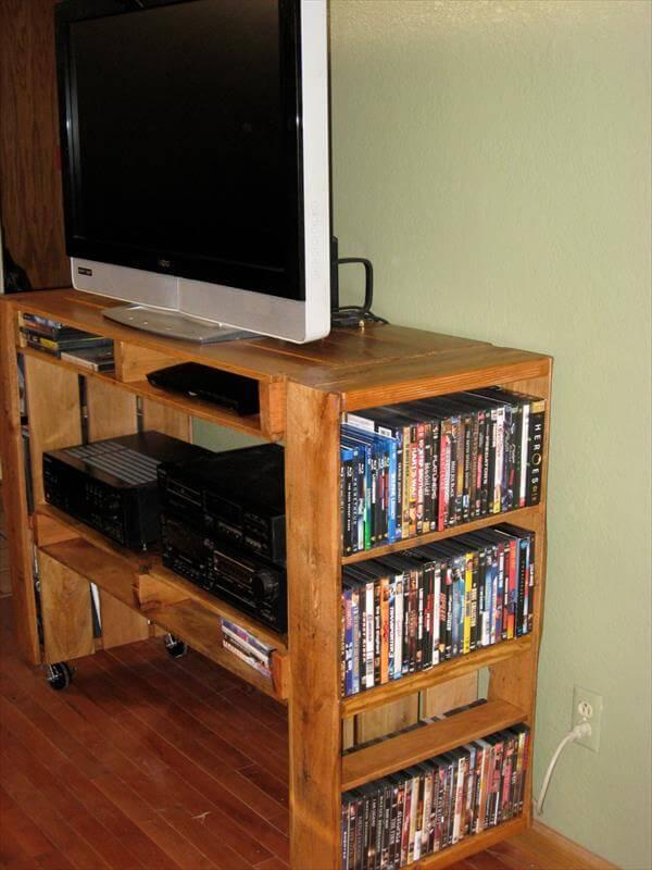 reclaimed pallet media console with bookshelves