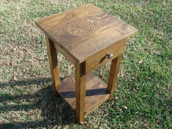resurrected pallet side table