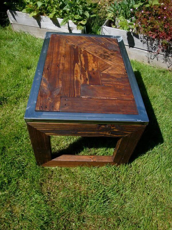 diy pallet steel coffee table