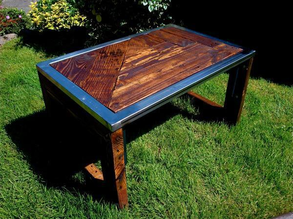 recycled pallet steel coffee table