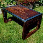 repurposed pallet steel coffee table