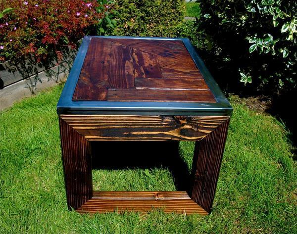 resurrected pallet steel coffee table