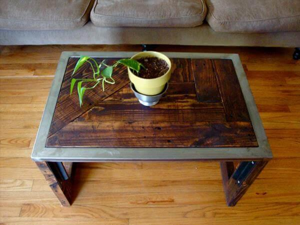 reclaimed pallet steel coffee table