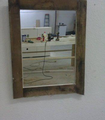 recycled pallet mirror