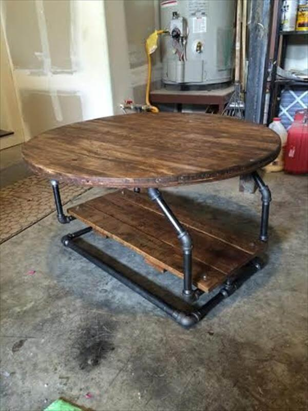 upcycled pallet industrial pipe coffee table