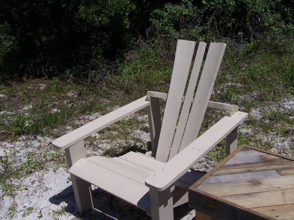 recycled pallet and wire spool adirondack chair