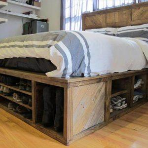 recycled pallet bed with headboard and storage