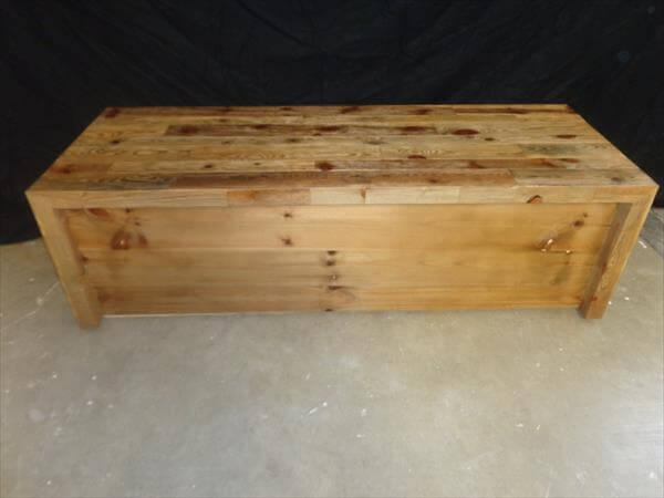 diy pallet bench and coffee table with storage