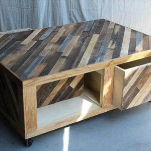 repurposed pallet coffee table with storage