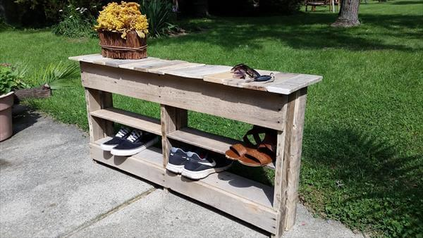Foyer Table From Pallets : Diy pallet entryway table and shoe rack pallets