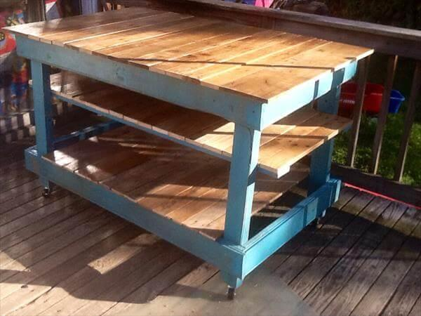reclaimed pallet kitchen island and buffet