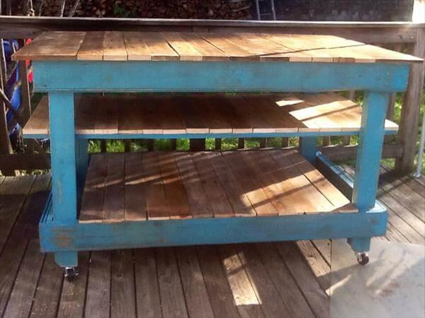 repurposed pallet kitchen island and buffet