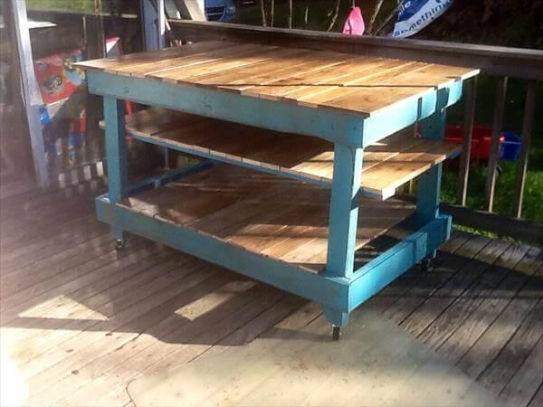 resurrected pallet kitchen island and buffet