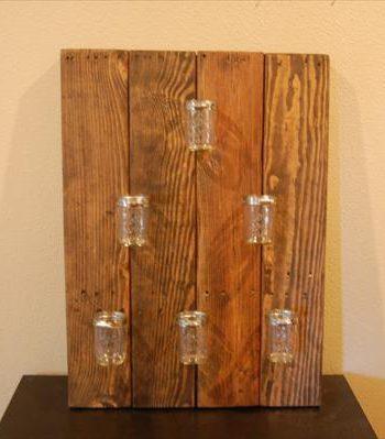 diy pallet mason jar hanging shelf