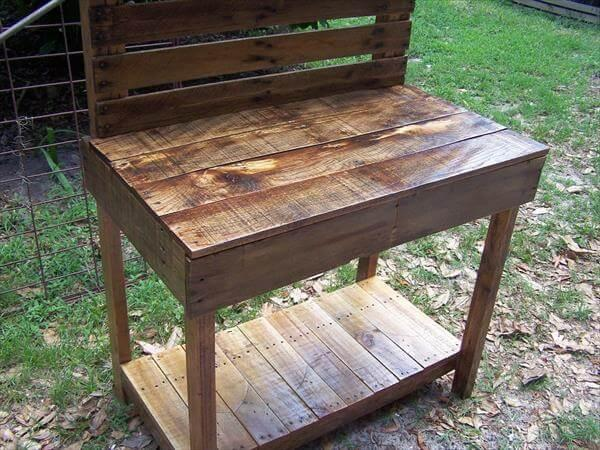 reclaimed pallet potting table and buffet