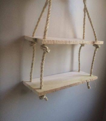upcycled pallet rope shelf