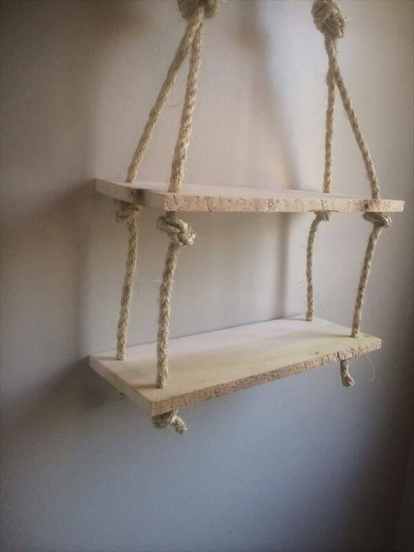 upcycled pallet rope shelf
