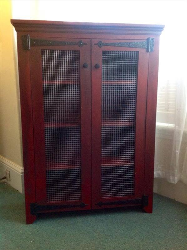reclaimed pallet shabby chic cabinet