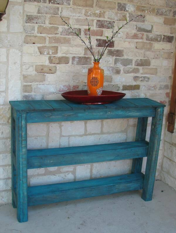 recycled pallet side table and media console