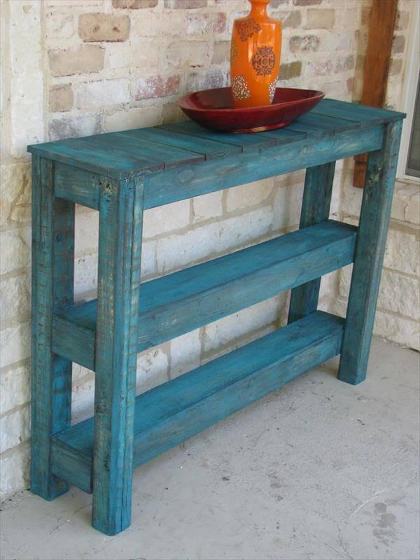 reclaimed pallet side table and media console