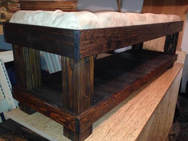 recycled pallet tufted bench with storage